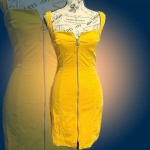 Forever 21 Mustard Zip Down Midi Dress